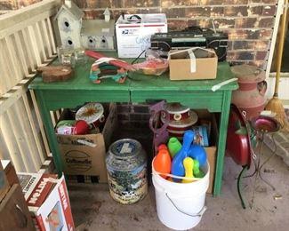 Vintage table, milk can etc