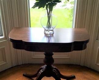 Carved Pedestal Drop Leaf Games Table