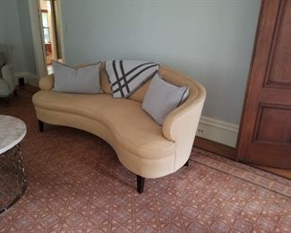 """One of two Mitchell Gold Sofas """"Vera"""" Tan Linen"""