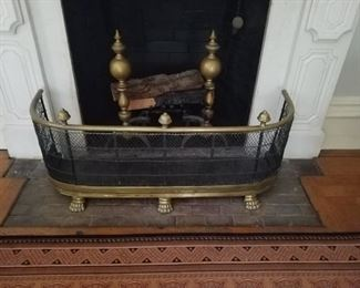 Antique Brass Fire Fender and Andirons
