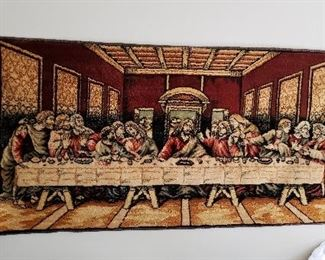 Religious Tapestry and other items