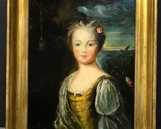"School of Joshua Reynolds, c. 1800, ""Portrait of a girl as Venus / Aphrodite"" oil on canvas,  16 x 20 in. (framed 25 x 21)"