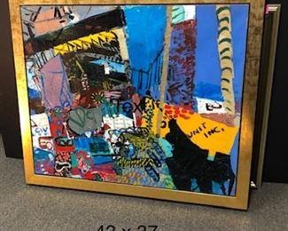 "Lester Goldman,  ""Abstract Unit"",  circa, framed 43 x37 in, circa 1985"
