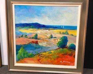 C. Park, Contemporary Landscape, 30 x 30 canvas, 38 x 38 framed