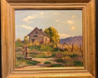 """K. Bradner, """"The Old Well, Brown Co. Indiana""""  oil on canvas circa 1914,  20 x 21 in. framed"""