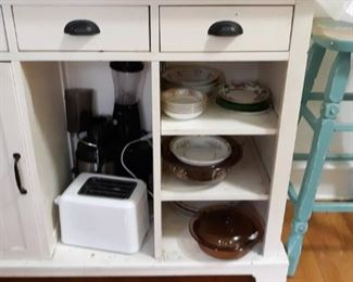Vintage dishes, appliances, stool