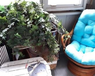 Rocker with new cushion, vintage plant stand, fake plants, paint, spray paint