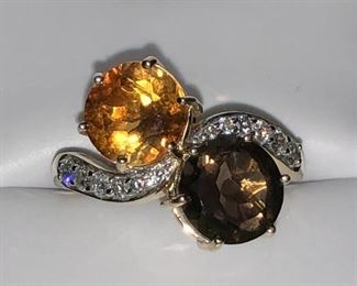 Citrine & Smokey Quartz, both 8.0mm, 12 Brilliant Cut Diamonds .75ct 14kt gold size 7 retails $1,520 - selling for $585