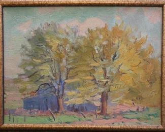 "M-5: ""Autumn Trees"" Ann Arbor, 1919. Oil on Board. Signed lower right. Image size 12 x 9"".  Frame size 12.5 x 9.5"". $950.00."