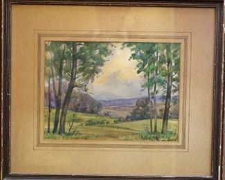 "M-7: ""Valley"" Virginia, Late Afternoon. Watercolor on Paper. Signed lower right. Image size 12 x 9"". Frame size 19 x 17"". $950.00."