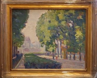 "M-8: ""Luxemburg Gardens"" Paris, France, 1912. Oil on Board. Signed lower right. Image size 16 x 13"". Frame size 20.5 x 17.5"". $1,150.00."
