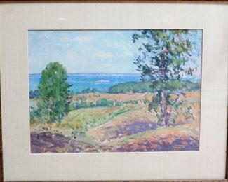 "M-72: Landscape. Gouache on Paper. Signed lower right. Image size 11.5 x 8.5"". Frame size 17.5 x 14.5"". $850.00."