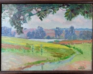 "M-74: ""Summer Day"" Portage Lake, Michigan, 1921. Oil on Board. Signed lower right. Image size 12 x 9"". Frame size 13 x 10"". $850.00."
