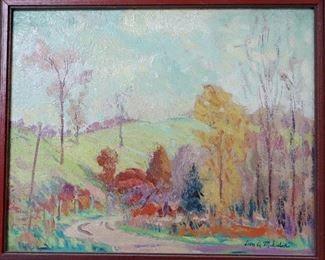 "M-75: ""Country Road"". Oil on Panel. Signed lower right. Image size 10.5 x 8.75"". Frame size 11.75 x 9.75"". $750.00."