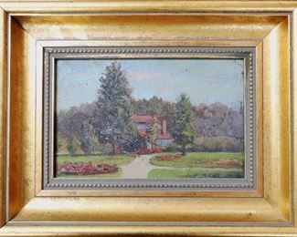"M-77: ""Park"" Howard Park, South Bend, Indiana, 1905. Oil on Board. Signed lower right. Image size 9 x 6"". Frame size 14 x 10.5"". $750.00."
