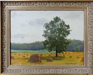 "M-79: ""Harvest"" Oregon, Illinois, 1908. Oil on Canvas Board. Signed lower right. Image size 12 x 9"". Frame size 14.75 x 11.75"". $900.00"