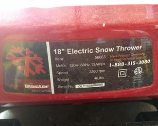 "Blaster 18"" Electric Snow Thrower"