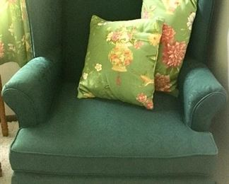 Green wing back chair