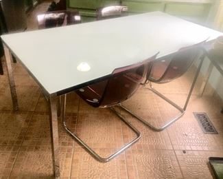 Contemporary rectangle metal & glass dining table.