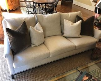 Hickory sofa upholstered in a beautiful neutral fabric is a truly versatile piece!
