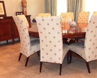 Fabulous RHO Italian Inlaid Dining Room Table (client paid $15K), set of 10 Hickory White Parsons Dining Chairs and RHO Italian Inlaid Sideboard (client paid $10K)