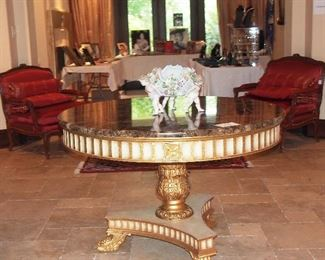 Fabulous Gilt w/ Marble Top Entry Table w/ Meissen  Centerpiece