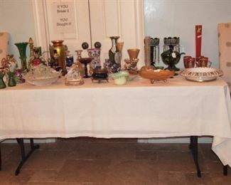 Fabulous Table of Steuben, Case Glass, Victorian Art Glass, Carnival Glass, Nippon, Belleek and more