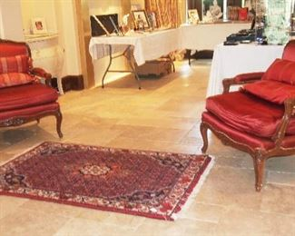Pr. Fabulous Bergere Chairs w/ gorgeous Upholstery (most likely Baker), Nice Made in Iran Rug