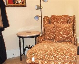Wonderful Oversized Bergere Chair w/ Ottoman, Maitland Smith Side Table