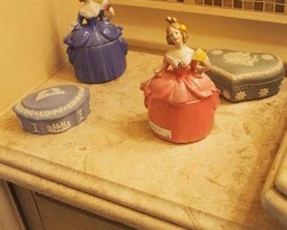 Wedgwood Boxes and Figural Limoges Lady Powder Jars