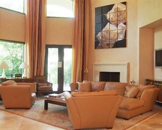 Fine Leather Sectional Sofa & Chairs