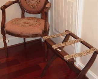 French Needlepoint Chair & Luggage Rack