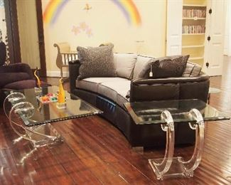 Great Modern Suite inc. Lucite and Glass Coffee and Side Table, $6K Retail Modern Leather Sofa and more