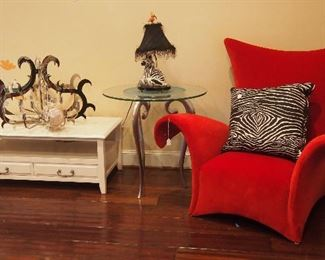 Great Modern Chair, Metal Side Table and Chandelier