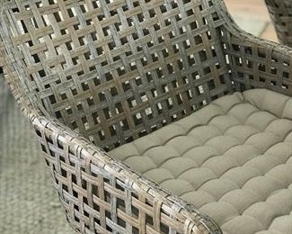Here is a closer look at the micro-tufted khaki cushion. They're extremely comfortable.