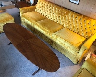 Midcentury Turfed Gold Couch Set
