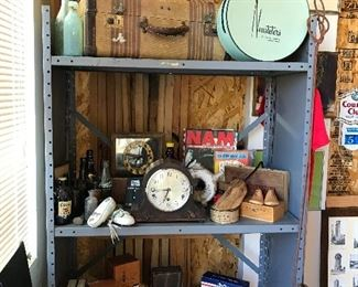 Wonderful quality vintage collectables. Suitcase from the 1930's, old Colorado fine clothing store hat box, vintage mantel clock