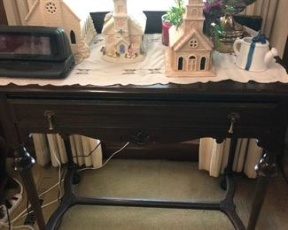Gorgeous Antique Table with Brass Lamp, Christmas Chapels and More!