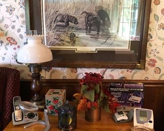 R J McDonald Beautifully Framed Art, Antique/Vintage Lamp, Collectible Carnival Glass Jar and More!