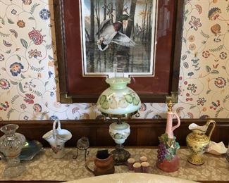 R J McDonald Beautifully Framed Art, Antique Lamp, Collectible Vases and More!