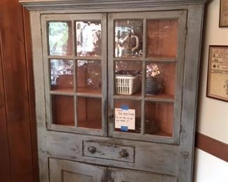 Corner cupboard with antique glass.  Fine reproduction  by well known Norfolk furniture maker Lee Sawyer