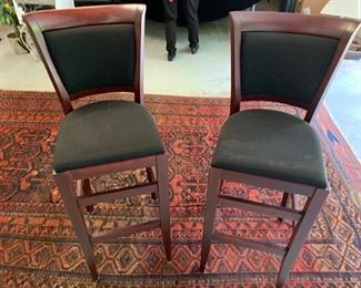 "3. Pair of Black Upholstered Counter Stools (16"" x 16"" x 44"") seat height 30"""