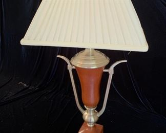 "9. Ceramic and Beveled Chrome Table Lamp (33"")"