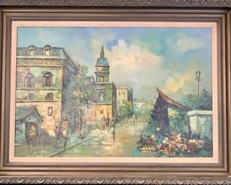 "10. Oil Painting of European Streetscene signed by G Wood (44"" x 32"")"