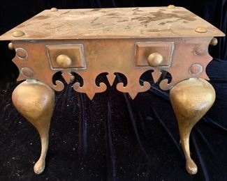 "15. Antique Copper Fireplace Warming Stool (19"" x 14"" x 12"")"