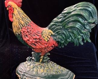 "20. Wrought Iron Painted Rooster (12"")"