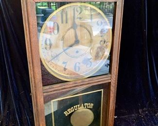 "22. Regulator Antique Wall Clock William Gilmert Clock Co. (16"" x 5"" x 32"")"