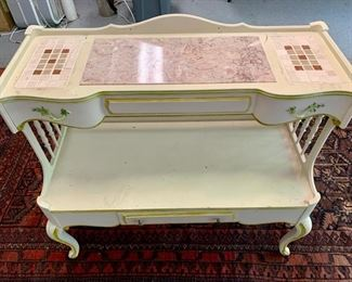 "25. Vintage Painted Tiered Console w/ Tile and Marble Inset (37"" x 18"" x 33"")"