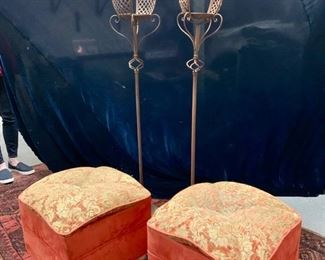 "32. Pair of Upholstered Stools (18"" x 18"" x 19"")                   33. Pair of Metal Floor Candles Holders (62"")"