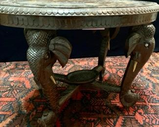 "39. Carved and Bone Inlaid Oval Side Table w/ Carved Elephant Head Legs (24"" x 15"" x 19"")"